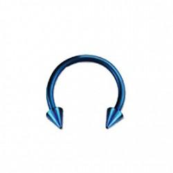 Piercing fer à cheval 10mm bleu et pointes Chy FER008