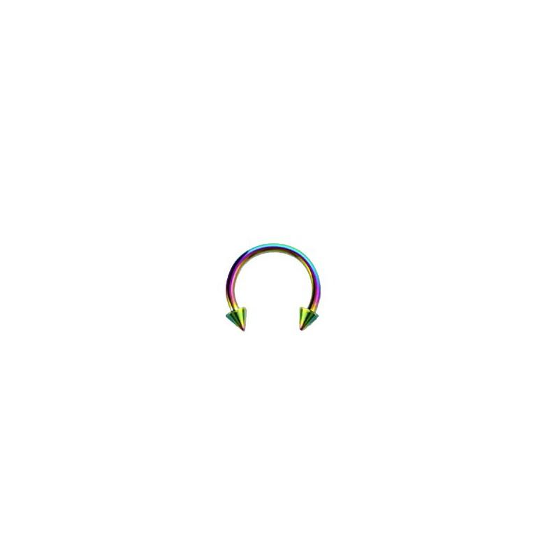 Piercing fer à cheval 12mm arc en ciel et pointes Piercing oreille4,80€