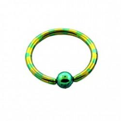 Piercing oreille anneau 14mm jaune vert Puly