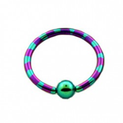 Piercing oreille anneau 14mm violet vert Tota ANN013