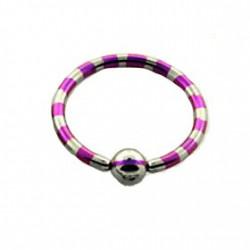 Piercing oreille anneau 14mm violet et acier Rio