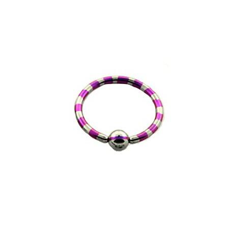 Piercing anneau 14 x 1,6mm violet et acier Rio ANN013