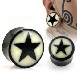 Piercing plug étoile noire en corne 16mm Gaz PLU058