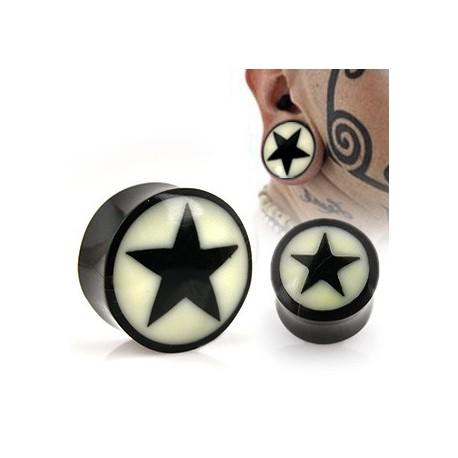 Piercing plug étoile noire en corne 22mm Goz PLU058