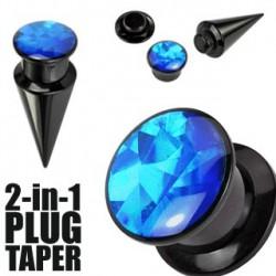 Piercing plug et écarteur bleu 4mm Pym PLU060