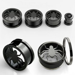 Piercing tunnel noir araignée 8mm Luyn PLU065