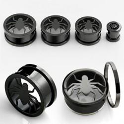 Piercing tunnel noir araignée 12mm Lavun PLU065
