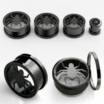 Piercing tunnel noir araignée 14mm Levun Piercing oreille9,49€