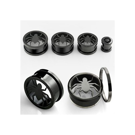 Piercing tunnel noir araignée 20mm Luka Piercing oreille12,49€
