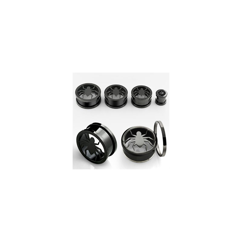Piercing tunnel noir araignée 22mm Luki Piercing oreille13,49€