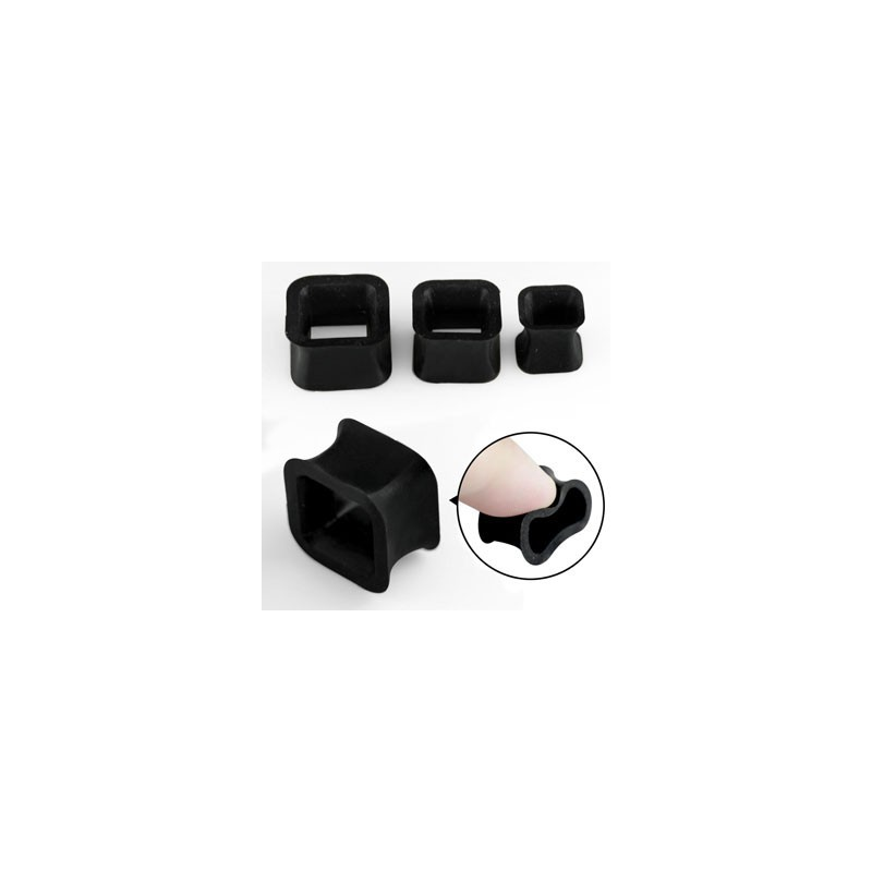 Piercing tunnel silicone noir carré 6mm Muy Piercing oreille3,75€
