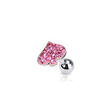 Piercing oreille tragus coeur rose Hut TRA012