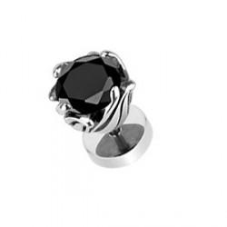 Faux piercing fleur et zirconium noir Xyc
