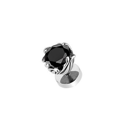 Faux piercing fleur et zirconium noir Xyc FAU067