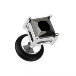 Faux piercing carré en zirconium noir Xioc