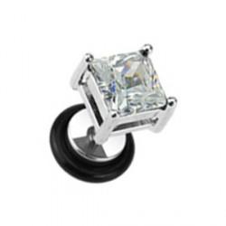 Faux piercing carré en zirconium blanc Xyut