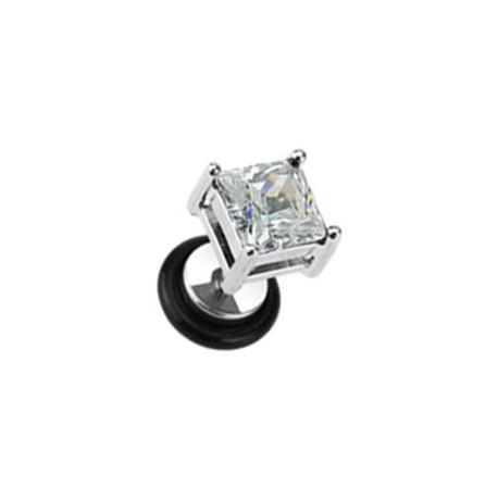 Faux piercing carré en zirconium blanc Xyut FAU072