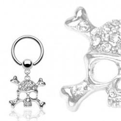 Piercing anneau 12 x 1,2mm tête de mort Coix ANN046