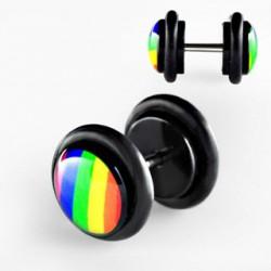 Faux piercing plug gay pride arc en ciel Peyn