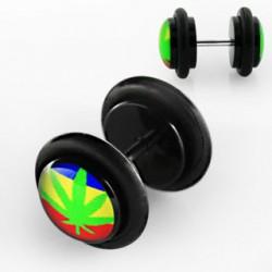 Faux piercing plug feuille de cannabis Pier FAU080