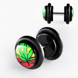 Faux piercing plug feuille de cannabis Pyor