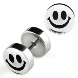 Faux piercing plug smiley noir Zatu FAU089