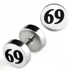 Faux piercing plug acier logo 69 Tiw FAU090