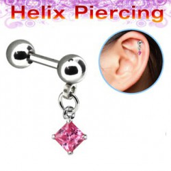 Piercing cartilage hélix carré rose Keut HEL007