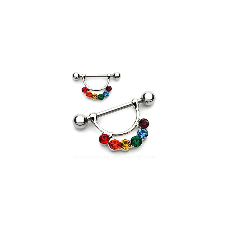 Piercing téton étrier arc en ciel Puze Piercing téton6,60€