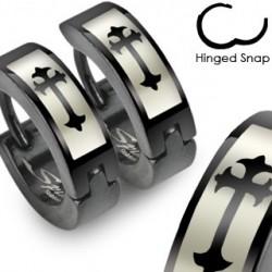 Boucle anneau oreille croix et noir Chot ANN048