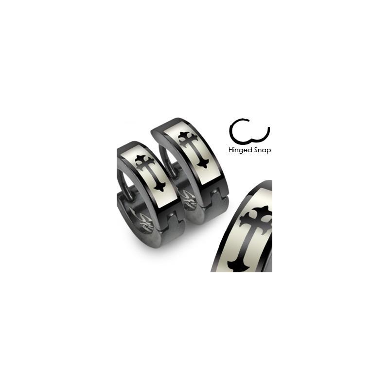 Boucle anneau oreille croix et noir Chot Bijoux6,85€