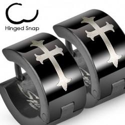 Boucle anneau oreille noir et croix Cuty ANN049