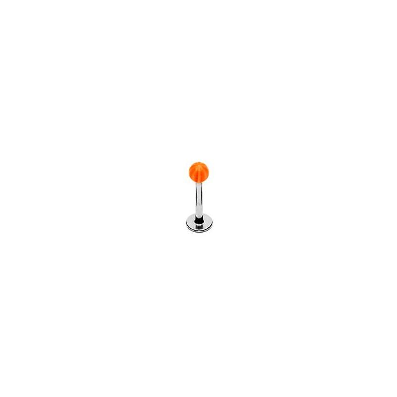 Piercing labret 8mm lèvre boule orange blanc Vyf Piercing labret1,99€