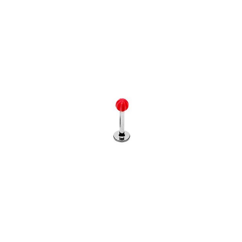 Piercing labret 8mm lèvre boule rouge blanc Vac Piercing labret1,99€