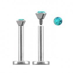 Piercing labret lèvre acier 11mm bleu aqua Xy LAB087