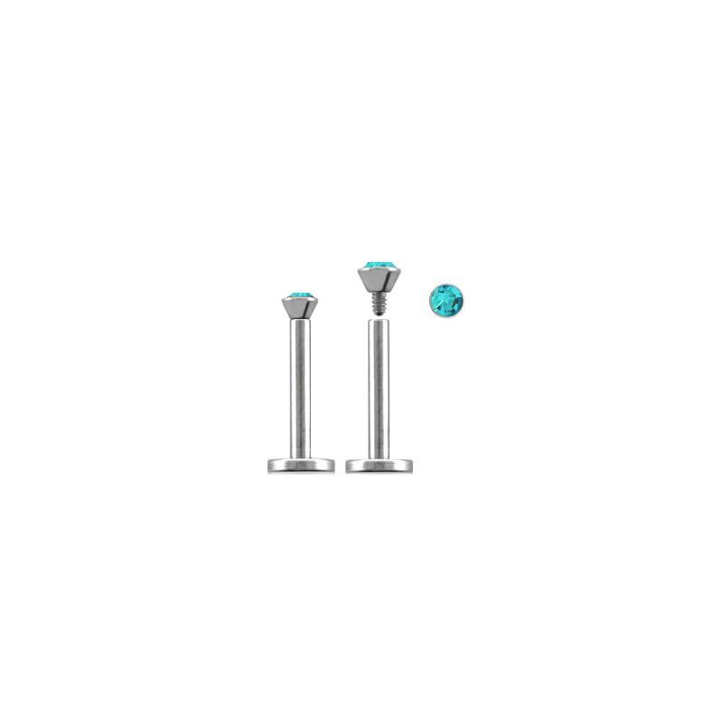 Piercing labret lèvre acier 12mm bleu aqua Xa Piercing labret3,60€