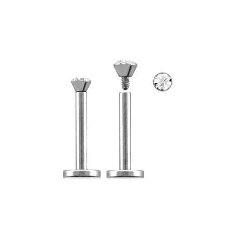 Piercing labret lèvre acier 6mm blanc Zare LAB088