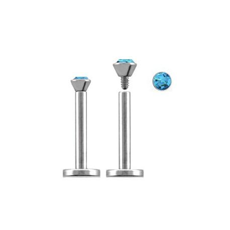 Piercing labret lèvre acier 10mm bleu saphir LAB089