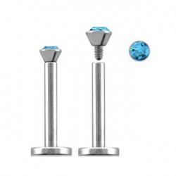 Piercing labret lèvre acier 12mm bleu saphir LAB089