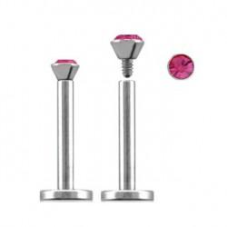 Piercing labret lèvre acier 6mm rose Zygtu LAB090