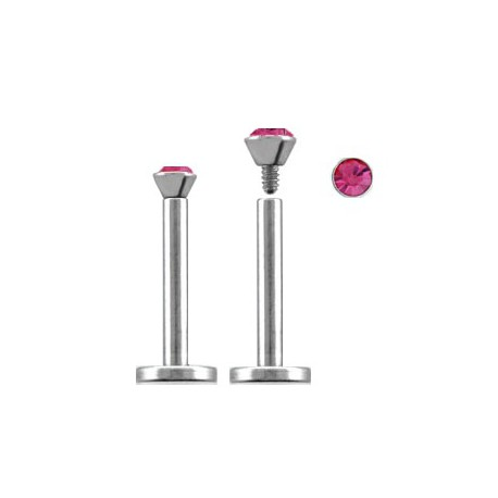 Piercing labret lèvre acier 8mm rose Zatu Piercing labret3,60€
