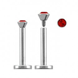 Piercing labret lèvre acier 8mm rouge Lety LAB092