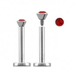 Piercing labret lèvre acier 10mm rouge Lory