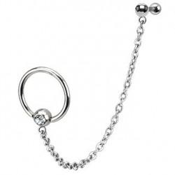 Piercing oreille hélix anneau et chaînette Lio HEL019