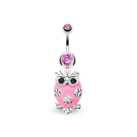 Piercing nombril avec un hibou rose et fleurs Kot Piercing nombril7,75€