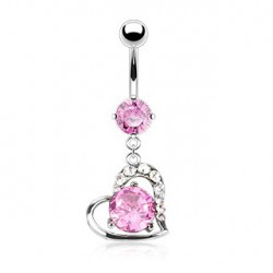 Piercing nombril pendant coeur rose Keu NOM195