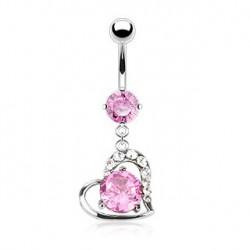 Piercing nombril pendantif avec un cœur rose Keu Piercing nombril9,70€
