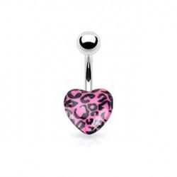 Piercing nombril avec un cœur léopard rose Kaz Piercing nombril3,90€