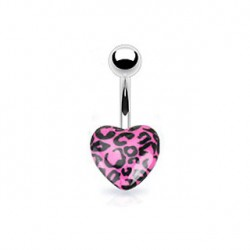 Piercing nombril coeur léopard rose Kaz