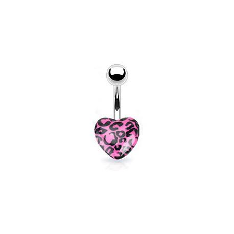 Piercing nombril coeur léopard rose Kaz NOM199